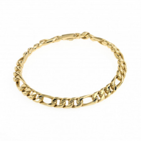 18 Kt Gold Bracelet Flat Bearded 6mm.