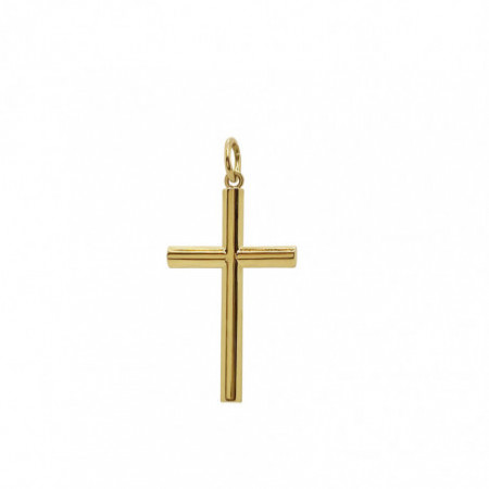 Solid Smooth Gold Cross TUBE M