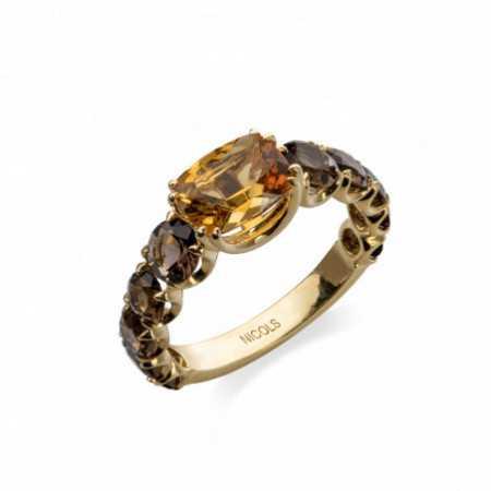 Gold Citrine and Smoky Quartz Ring CANDY STONES
