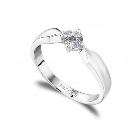 Anillo Compromiso MARIE TWISTED Oro Blanco (18kt) con Diamante