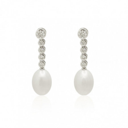 Pearl Earrings FIVE CLASSIC DIAMOND