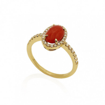 Anillo Coral Oval RED VELVET 11X8MM
